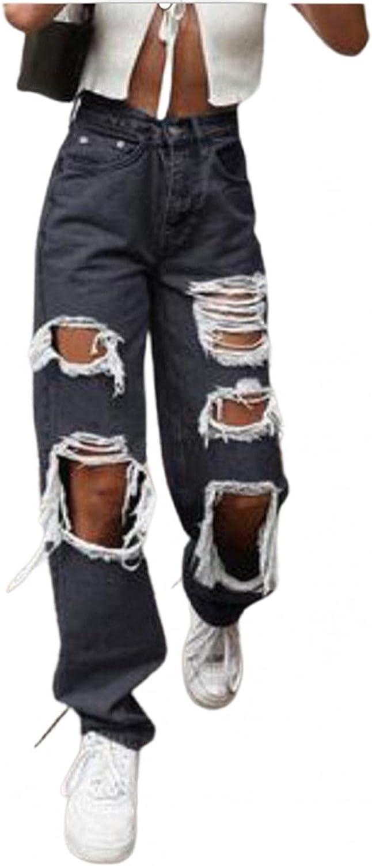 Lingbing Y2K Fashion Jeans, Women High Rise Straight Jeans Boyfriend Baggy Trousers Denim Zebra Printed Wide Leg Pants
