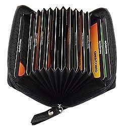 Echt Leder Kredit- und Visitenkartenetui 13 Fächer mit RFID & NFC Schutz in Schwarz (Schwarz)