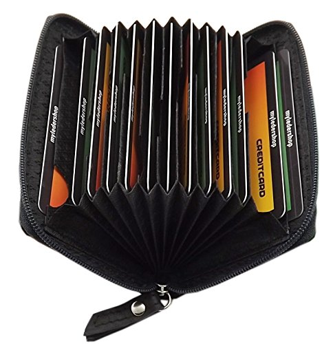 Cuero Tarjetero para Tarjeta de crédito y Tarjeta de Visita 13 Bolsillos con Bloqueo RFID y NFC (Negro)