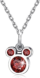 BAMOER 925 Sterling Silver Mouse Birthstone Pendant Necklace for Women