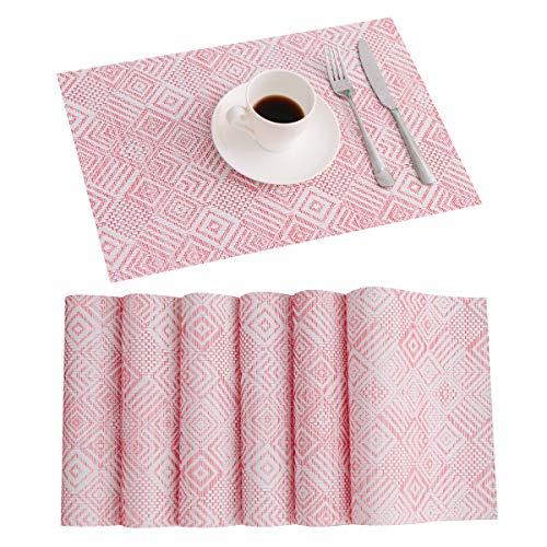 "Mejor Pauwer Woven Vinyl Wipe Clean Kitchen Table Runner Heat Resistant Non Slip Dining Table Runner 12""x71"" crítica 2020"