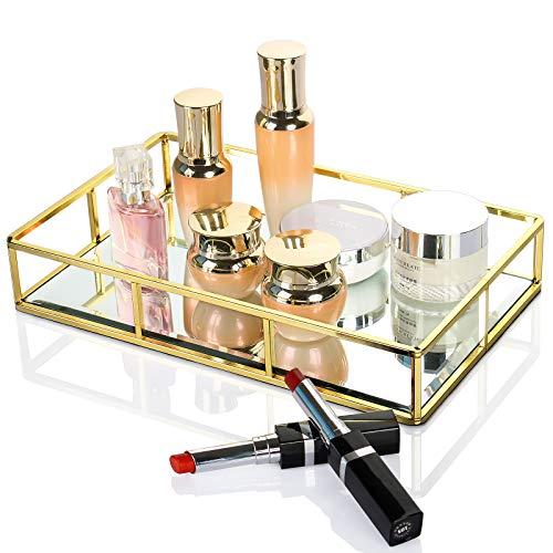 Bandeja de espejo dorado de Dawoo/bandeja cosmética/bandeja de perfume/bandeja de artículos de tocador