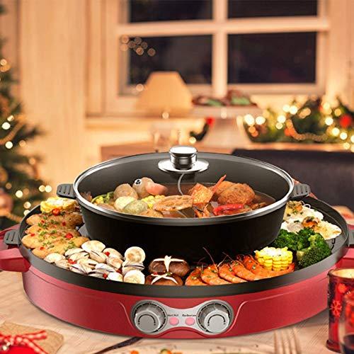 4YANG Elektrogrill und Hot Pot,Split Design mit Grillplatte- Doppelte Temperaturregelung 2 in1 Multifunktion Doppelte Trennung Korean Barbecue Hot Pot Innenbereich für einfache Reinigung(44CM) (rot)
