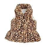 Mud Pie Baby Girl Faux Leopard Fur Vest (Brown, Small(12-18 Months)) (11080062B-S)