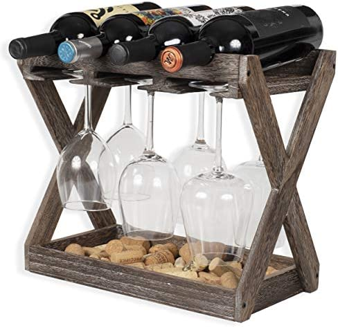 Rustic State Cava Solid Wood Wine and Glass Rack Cork Storage Tray Table Top Bottle Holder Walnut product image