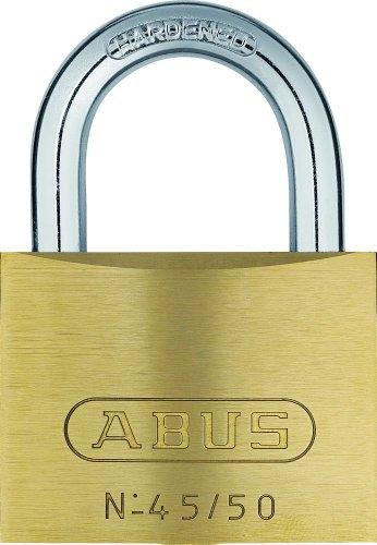 ABUS Vorhängeschloss 45/50 aus Messing - inkl. 5 Schlüssel - mit Präzisions-Stiftzylinder mit Pilzkopfstiften - 20077 - Level 5 - Messingfarben