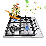 Ethedeal Built-In 4 Burners Cooktop Hob Cooker Kitchen, Stove Top Gas Cooktop Easy Clean NG/LPG Cooking Home (4 Burners 58x50cm)