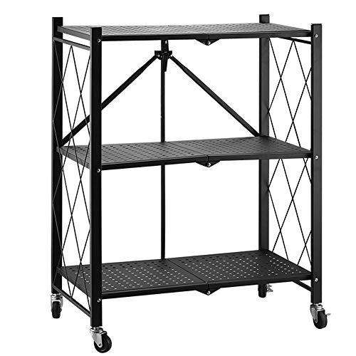 Storage Organizer Shelves Folding Floor Pots Holder Removable Shelf for Kitchen Warehouse Dining Room Laundry
