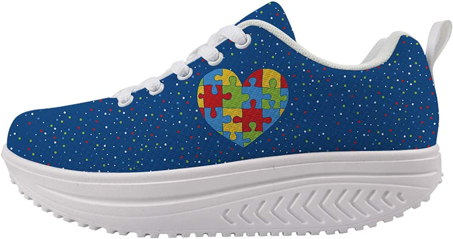 Swing Platform Toning Fitness Casual Walking shoes Wedge Sneaker Women Autism Awareness Puzzle Heart colorful Dots