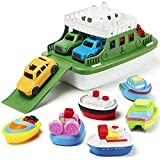 Nasidear Bath Boat Toy,11 Piece Bath Boat Toy with 4 Mini Cars and 6 Boat Squirters,Floating Boat Toys for Bathtub Bathroom Pool Beach for Toddlers Boys Girls Kids
