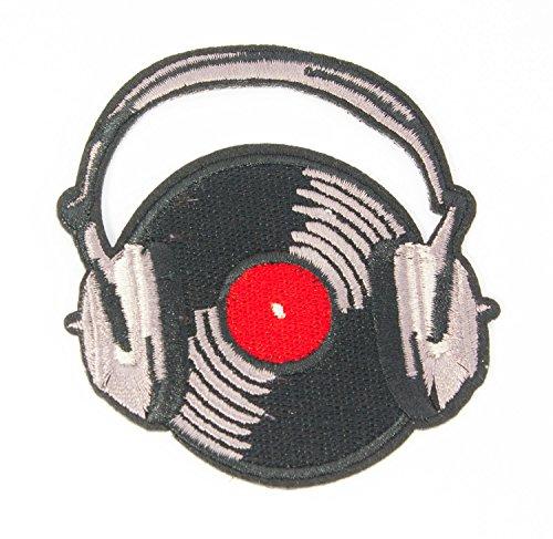 MissBirdler Retro DJ Vinyl plaat met koptelefoon opstrijkbare jeans stof kleding applicatie strijkafbeelding patch DIY voor textiel 8 x 5,3 cm