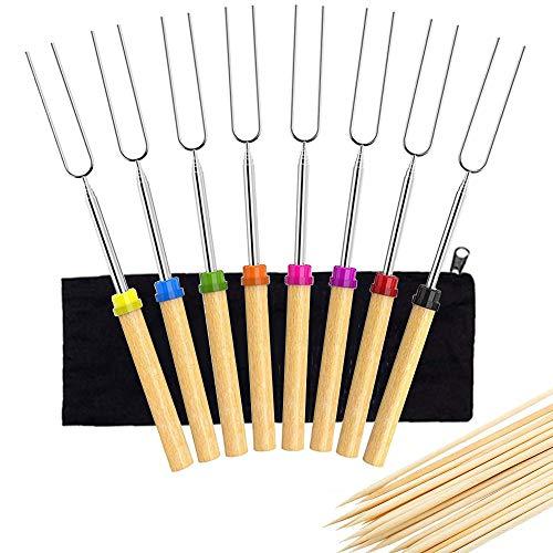 N\O 8 Stück Grillspieße, Marshmallow Roasting Sticks, Teleskopspieße Spieße Ausziehbar Edelstahl mit Holzgriff BBQ Marshmallow Röster Spieße Set, 32 Zoll mit Leinentasche, mit 100 Bambusstäbe
