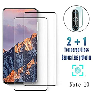 Glass Screen Protector for Samsung Galaxy Note 10/ Note10 5G, 9H Tempered Glass, Ultrasonic Fingerprint Compatible,3D Curved, HD Clear, Bubble-Free for Galaxy Note10 Screen Protector