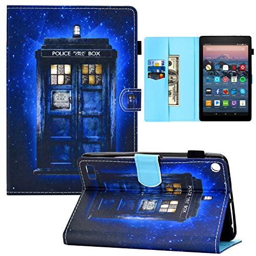 Kindle Fire 7 Case,RASUNE Multiple Angle Stand Full-Body Protective Card Slot PU Leather Folding Folio Case for All Amazon Kindle Fire 7 Tablet (9th /7th /5th Generation, 2019 2017 2015) -Police Booth