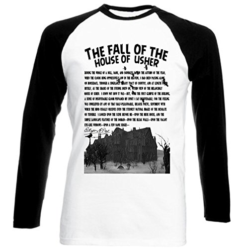 teesquare1st Men's The Fall of The House of Usher - POE Black Sleeved Baseball T-Shirt Size XXLarge