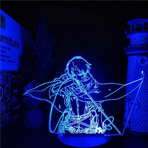 KATA 3D Levi Ackerman Figurine Lamp Anime Illusion Night Light Levi Ackerman Attack On Titan Gift for Bedroom Decor Light Led Sensor Color Changing Work Desk Lamp