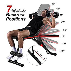 Adjustable Weight Bench, Feikuqi Durable Workout Bench fits Full Body Exercise, Folding Strength Training Benches for Home Gym Incline and Decline Bench Press