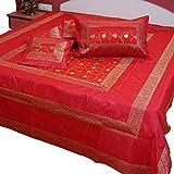 Marusthali Indische Banarasi Tagesdecke Designer Stickerei Seidenbrokat Arbeit - Reine Seide mit Kissenbezüge (rot)