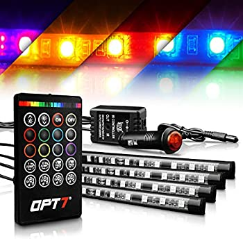 OPT7 Interior Car Lights LED Strip Kit Aura Choice 48 LEDs Multi-Color Atmosphere Lights for car Soundsync Show Patterns and Remote-Accent Footwell Floor Interior Ambient Lights 4pc Single Row