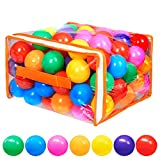Vanland 100 Ball Pit Balls for Baby and Toddler Phthalate Free BPA Free Crush Proof Plastic - 7 Bright Colors in Reusable Play Toys for Kids with Storage Bag (Bright Colors)