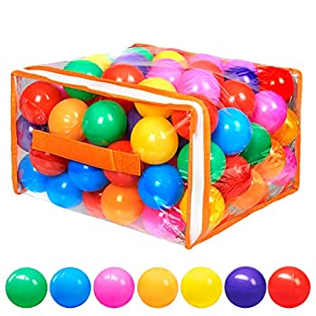 Vanland 100 Ball Pit Balls for Baby and Toddler Phthalate Free BPA Free Crush Proof Plastic - 7 Bright Colors in Reusable Play Toys for Kids with Storage Bag  Bright Colors