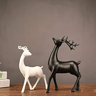 BEIXI Scandinavian Modern Black and White Deer Ornaments Resin Creative Crafts Decoration Gift Ideas Couple Deer Ornaments Wholesale