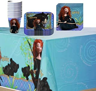 Disney Pixar Brave Party Supplies Pack Including Plates, Cups, Tablecover and Napkins- 16 Guest by Hallmark
