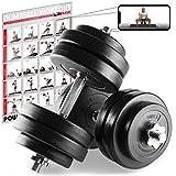 POWRX Mancuernas 30 kg Set (2 x 15 kg) + PDF Workout (Negro)