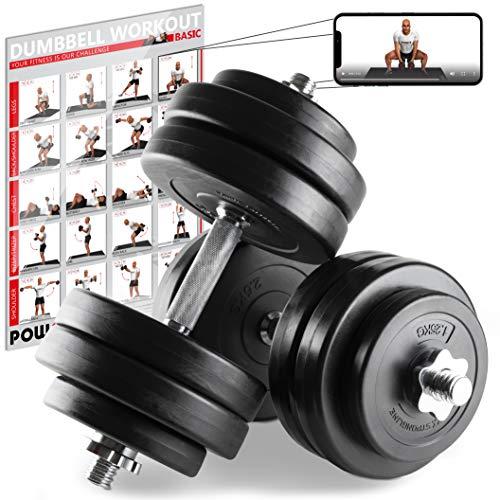 POWRX Kurzhanteln 2er Set Kunststoff 30kg 2 x 15 kg – Hantelstangen, Gewichte und Sternverschlüsse gerändelt 30/31mm