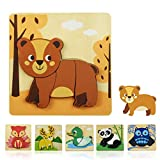 GYBBER&MUMU Wooden Thickened Animal Puzzle Toy Set Panda Deer Owl Duck Fox Puzzle Toy Hand-Eye Coordination Intellectual Toy Set for Preschool (Bear)