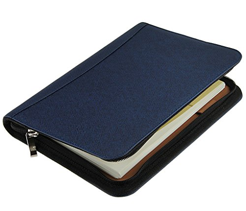 Liying A5-kalender, polyurethaan leer, ritssluiting, rekenmachine, week, dag, planner, portemonnee, kaarthouder, spiraalgebonden, gelinieerd A5, Blue