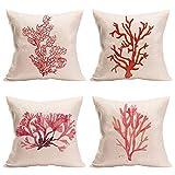 WSKBAOZHEN 4 Pack Throw Pillow Case,Coral Tree Funda De Cojín Cuadrado Almohadón De Algodón Y Lino Cubierto Decorativo Almohada Cubre A La Decoración del Hogar