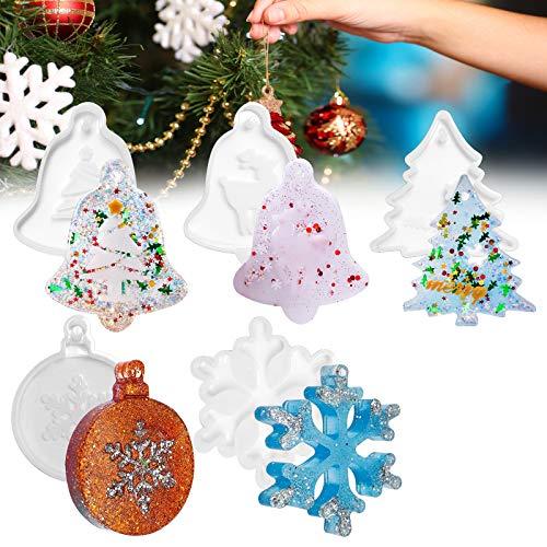 Stampi Natalizi Resina, 5PCS Silicone Stampo, Cristalli Epossidici, Albero di Natale, Fiocchi di Neve, Alce, Fai da Te Resina Cristallo Decorazioni per Albero di Natale, Ornamento Buon Natale Regalo
