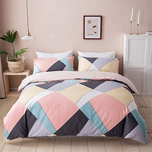 VClife Cotton Bedding Duvet Cover Set Geometric Triangle Striped Pattern Comforter Cover Sets Full/Queen 3 Pieces Bedding Sets for All Season, 200 TC Hypoallergenic Soft Pink Blue Black Yellow Bedding