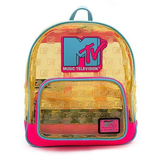 Loungefly N MTV Mochila pequeña de PVC transparente neón Unisex adulto, Multicoloured, One Size
