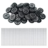EUDAX 30mmx9mm Plastic Roll 2mm Dia Shaft Toys Wheel and 2mmx100mm STEM Shaft Round Rod Axles for DIY Toy RC Car Truck Boat Helicopter Model Part (100 Pcs)
