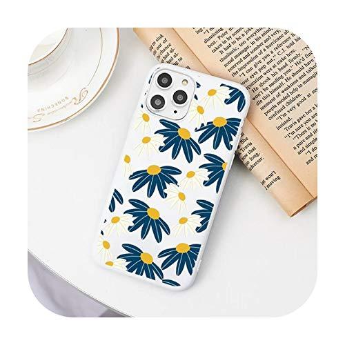 Funda para teléfono móvil con diseño de margaritas de dibujos animados color blanco para iPhone 11 Pro XS MAX 8 7 6 6S Plus X 5S SE 2020 XR-a12-iphone7or8