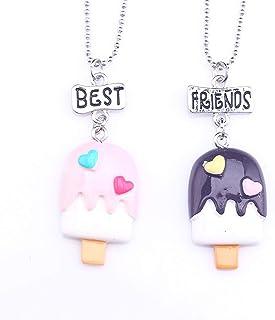 YERTTER BFF Neckalce for 2 Best Friends Friendship Ice Cream Simulation Food BFF necklace Girlfriend Friendship Necklace
