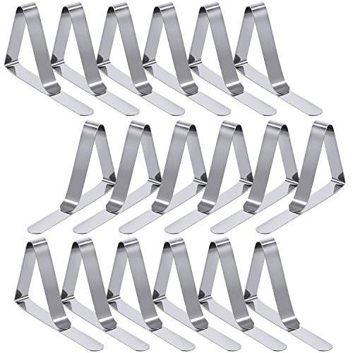 ENTHUR Tablecloth Clips 18 Packs Picnic Table Clips Flexible Stainless Steel Table Cloth Cover Clamps Table Cloth Holders Ideal for Picnics Marquees and Weddings (Silver)