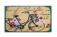 Felpudo de Coco Natural, felpudos Entrada casa, Alfombra Limpia Zapatos, Felpudo Exterior, Alfombra Entrada casa Interior, felpudos Originales y Divertidos, 40x70 (Bicicleta)