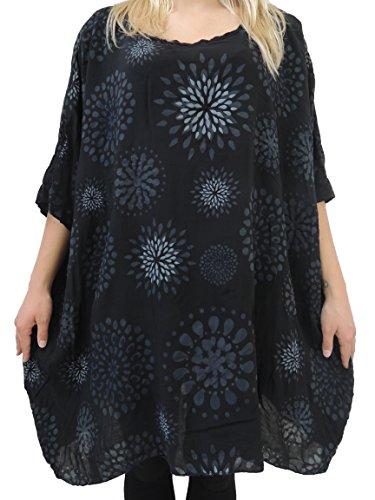 Blusen Shirts mit tollem Muster Größe 56 58 60 62 (Schwarz)