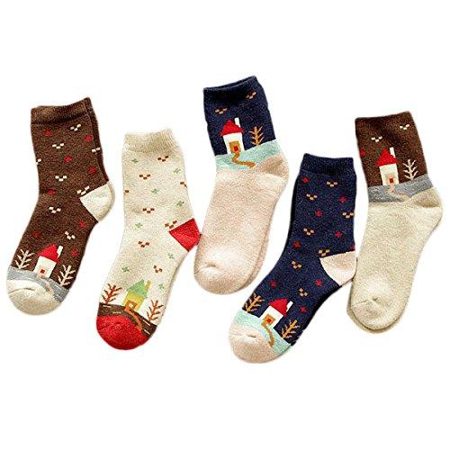 Fascigirl Calcetines de Mujer, 5 Pares de Calcetines de Invierno Multicolor Calcetines Térmicos Transpirables para Mujer