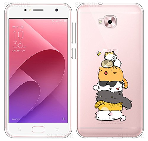 Sunrive Für Asus Zenfone Live Plus ZB553KL 5,5 Zoll Hülle Silikon, Transparent Handyhülle Schutzhülle Etui Hülle Backcover(TPU Katze 3)+Gratis Universal Eingabestift