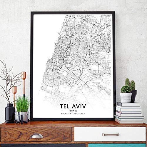 Juabc Tel Aviv Karte drucken Israel Straße Straßenkarte schwarz weiß Leinwand Poster schwarz weiß Wandkunst Bild nordische Malerei Wohnkultur50x70 cm No Frame