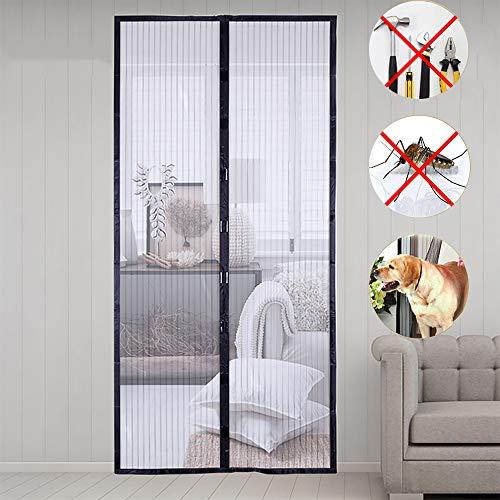 Uni-Wert Mosquitera magnética para puerta Cortina (fácil de instalar, cortina magnética para puerta de balcón, sótano, terraza, etc.), poliéster, Negro, 100x210 cm