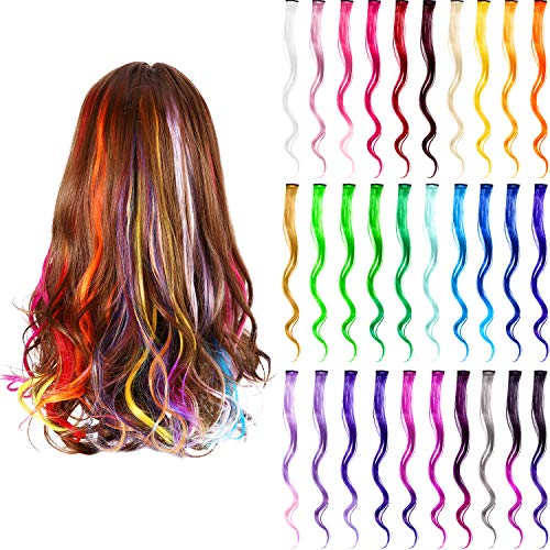 Party Highlights Colorful Clip in Synthetic Hair Extensions, Heat Resistant Synthetic Hair Extensions on Double Weft Hair Extensions in Multiple Colors (30 Pieces, Multicolor-Curly)