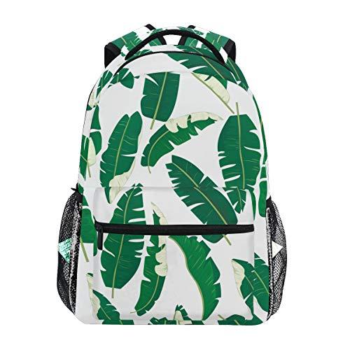 QMIN Zaino Tropicale Banana Foglie Modello Scuola Libreria Viaggio College Daypack Notebook Escursionismo Campeggio Borsa a Tracolla Organizzatore per Ragazzi Ragazze Donne Uomini