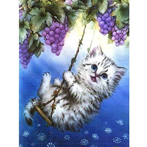 Kits de pintura de diamantes, pintura por números para adultos, arte de diamante 5D, arte de imagen de diamante, bricolaje personalizado hacer columpio gatito para la decoración de la pared del hogar