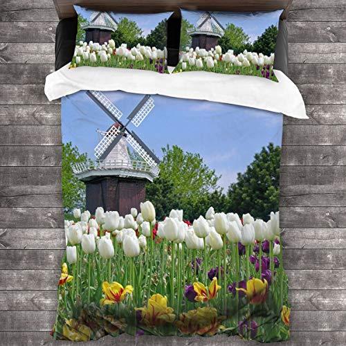 AIMILUX Funda Edredón,Spring Farm,Campo de Tulipanes Blancos Amarillos,Molino y Molino de Viento,Ropa de Cama Funda Nórdica,1(240x260cm)+2(50x80cm)