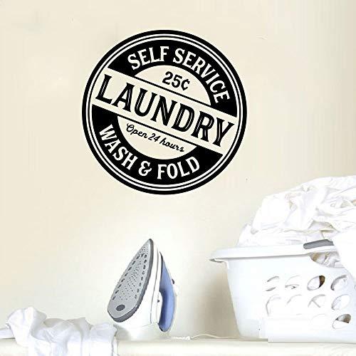 Diseño Sala de lavandería Autoservicio Logo Letrero Lavar Fold Etiqueta de la pared Vinilo Arte Puerta Ventana Calcomanía Dormitorio Sala de estar Decoración del hogar Mural